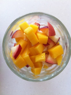 Oh my...Mango, organic peach and Greek yoghurt