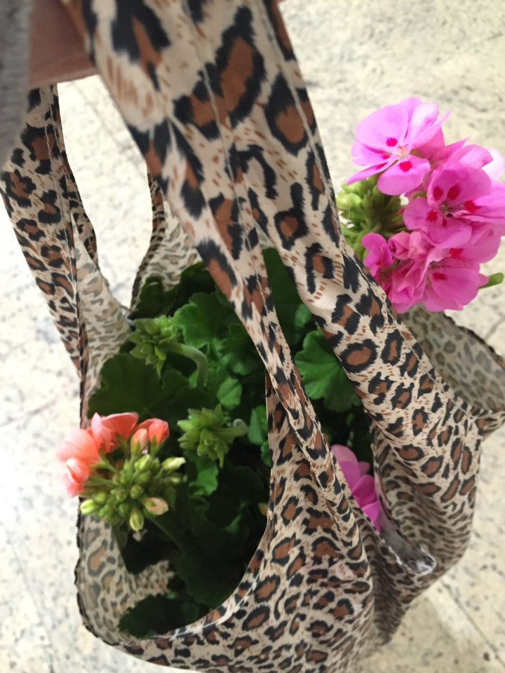 leopard print fold up bag