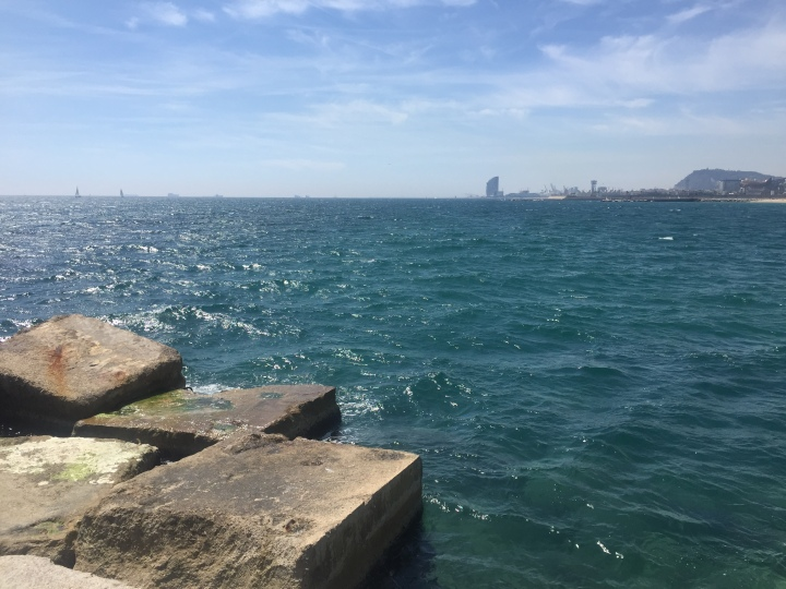 Friday Run View. Small jetty Barcelona
