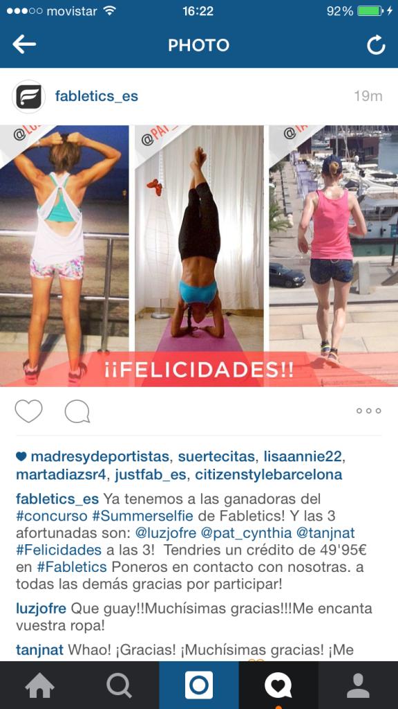 Fabletics Es Summer Selfie Winner
