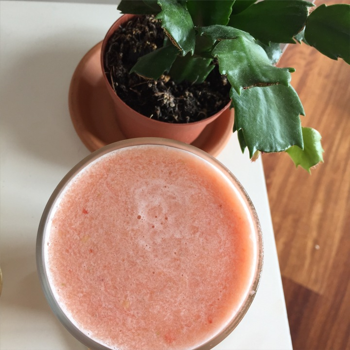 Pineapple, lime, nectarine, strawberry, coconut water smoothie