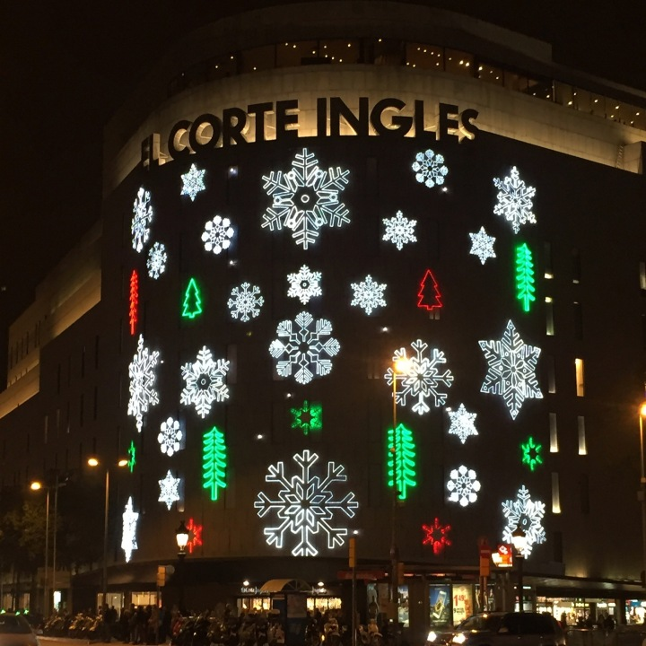 El Corte Ingles Christmas lights, Barcelona