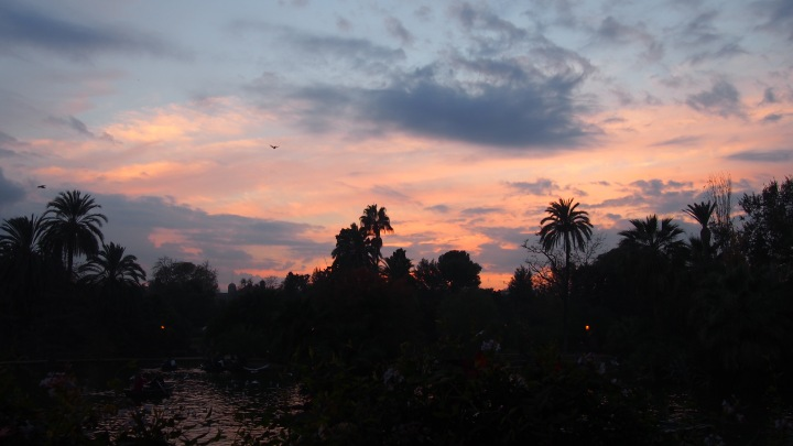 Sunset, boating lake, Parc Ciutadella