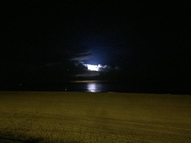 Lightening storm at sea