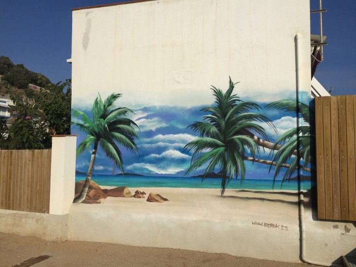 Palm tree mural graffiti