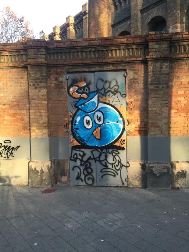 Angry bird bomb graffiti Barcelona