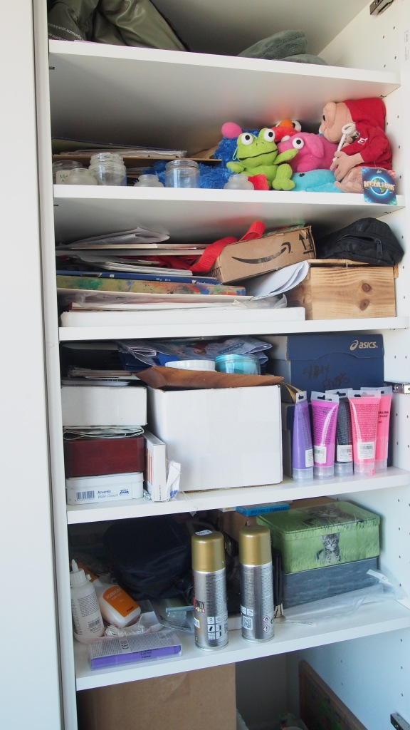 Arts and crafts cupboard before. KonMari Method